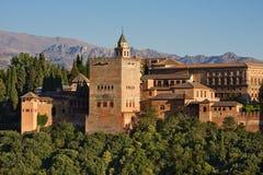 Alhambra bij zonsondergang, Granada Stock Afbeelding