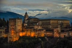 alhambra carlos de granada slott v Royaltyfria Foton