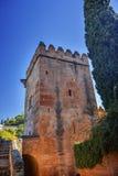 Alhambra Castle Tower Granada Andalusia Spanje Stock Foto's