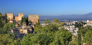 Alhambra Castle Towers Cityscape Granada Andalusia Spain Royalty Free Stock Photo