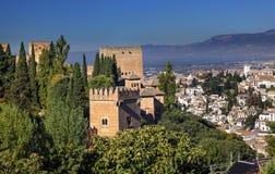 Alhambra Castle Towers Cityscape Granada Andalusia Spanje Royalty-vrije Stock Foto