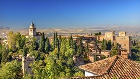 Alhambra Castle Towers Granada Andalusia Spanje Royalty-vrije Stock Foto's
