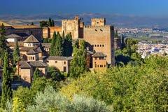 Alhambra Castle Towers Granada Andalusia Spanje Stock Afbeeldingen