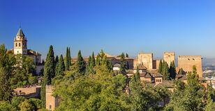 Alhambra Church Castle Towers Granada Andalusia Spain Stock Photography