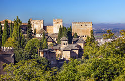 Alhambra Church Castle Towers Granada Andalusia Spanje Stock Afbeelding