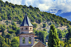 Alhambra Church Farm Mountains Granada Andalusia Spain Stock Image