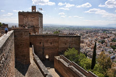 Alhambra citadel. Aerial view of Alhambra city with fortified citadel walls in foreground, Granada, Spain Royalty Free Stock Photo