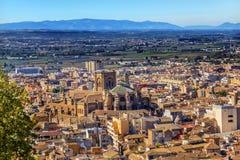 Alhambra Cityscape Cathedral Granada Andalusia Spanien Arkivbilder