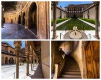 Alhambra Collage, Granada a Andaluzia, Espanha fotos de stock