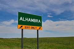 US Highway Exit Sign for Alhambra. Alhambra composite Image `EXIT ONLY` US Highway / Interstate / Motorway Sign royalty free stock photos