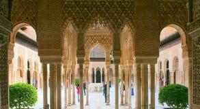 Alhambra Court av lejon Arkivfoton