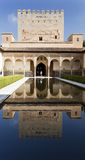 Alhambra Court of the Myrtles Reflection. Reflection on the pool of the Court of the Myrtles South Portico, in The Alhambra, Granada, Spain stock photography