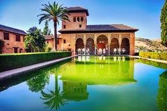 Alhambra Courtyard av slotten av Charles V Fotografering för Bildbyråer