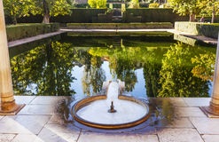 Alhambra Courtyard El Partal Pond Granada Andalusia Spain. Alhambra Courtyard El Partal Fountain Pool Pond Reflection Granada Andalusia Spain royalty free stock images
