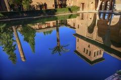 Alhambra Courtyard El Partal Pool Granada Andalusia Spanje Stock Foto's