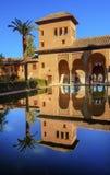 Alhambra Courtyard El Partal Pool Granada Andalusia Spanje Stock Foto