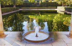 Alhambra Courtyard El Partal Pool Granada Andalusia Spanje Stock Fotografie