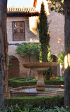 Alhambra Courtyard Fountain Patio Granada Andalusia Spain stock photography
