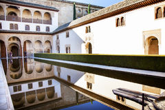 Alhambra Courtyard Myrtles Pool Granada Andalusia Spain Stock Photo