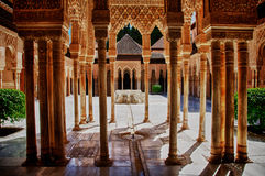 Alhambra Courtyard. One of the main courtyards of the Alhambra, the palace of the Sultan in Southern Spain Royalty Free Stock Image
