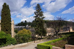 Alhambra cytadela, Granada, Hiszpania wewnętrzni ogródy obrazy stock