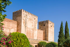 Alhambra de Granada. Alcazaba. Broken and Homage Towers Royalty Free Stock Images