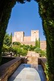 Alhambra de Granada. Alcazaba. Broken and Homage Towers Royalty Free Stock Photos