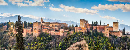Alhambra de Granada, Andalusia, Spain. Panoramic view of famous Alhambra de Granada, Andalusia, Spain Stock Photos