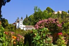 Alhambra de Granada: Generalife over the gardens Royalty Free Stock Photos