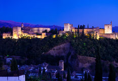 Alhambra de Granada giant panoramic at night Royalty Free Stock Photos