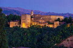 Alhambra de Granada panoramic at dusk Royalty Free Stock Photo