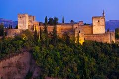 Alhambra de Granada panoramic at dusk Stock Image