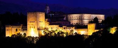 Alhambra de Granada, panoramic at night Royalty Free Stock Image