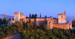 Alhambra de Granada, panoramic at sunset Royalty Free Stock Images