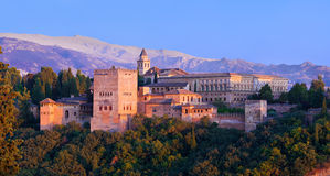 Alhambra de Granada, panoramic at sunset Stock Image