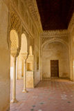 Alhambra de Granada, Spain. Pavilion with stalactites arches in Generalife Stock Photos