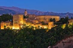 Alhambra después de la puesta del sol Imágenes de archivo libres de regalías