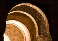 Alhambra Detail, Spain. Archways in the Alhambra Palace, Andalucia, Spain Royalty Free Stock Photo