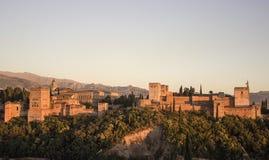Alhambra di Granada nel tramonto Fotografia Stock
