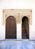 Alhambra door and stairs. Ornate door and staircase. Nazrid Palace, Alhambra, Spain Stock Photos