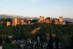Alhambra durante il tramonto, Granada, Spagna Fotografia Stock