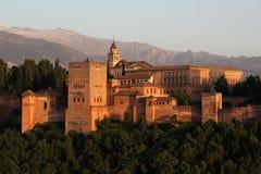 Alhambra durante puesta del sol, Granada, España Foto de archivo libre de regalías