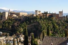 Alhambra en la puesta del sol fotos de archivo libres de regalías