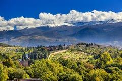 Alhambra Farm Mountains Granada Andalusia Spain. Alhambra Farm Olive Trees Mountains Granada Andalusia Spain Royalty Free Stock Photos