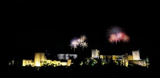 The Alhambra with fireworks. The Alhambra of Granada in Spain with fireworks Stock Photos