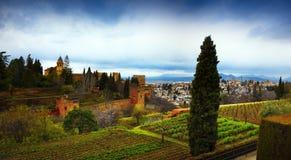 Alhambra - forntida arabisk fästning, Granada, Andalusia, Spanien Royaltyfria Foton
