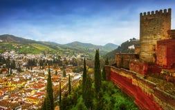 Alhambra - forntida arabisk fästning, Granada, Andalusia, Spanien Royaltyfri Bild