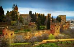 Alhambra - forntida arabisk fästning, Granada, Andalusia, Spanien Royaltyfria Bilder