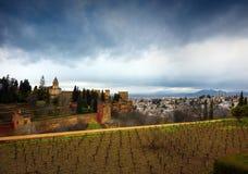 Alhambra - forntida arabisk fästning, Granada, Andalusia, Spanien Arkivfoton
