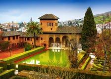 Alhambra - forntida arabisk fästning, Granada, Andalusia, Spanien Arkivbild